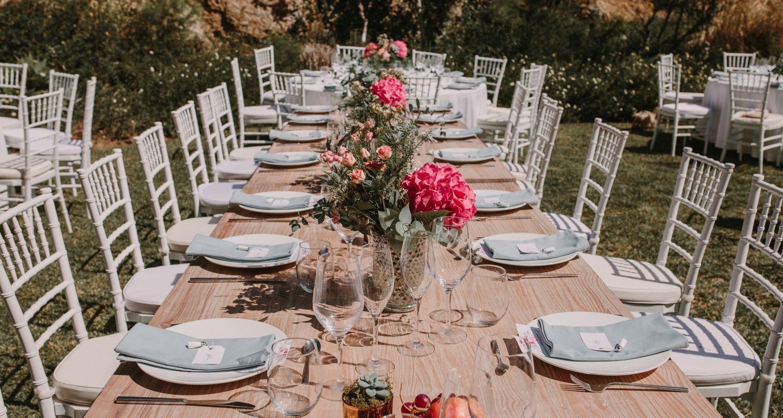 boda mesa larga hortensia
